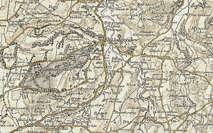 Old map of Afon Gallen in 1902-1903