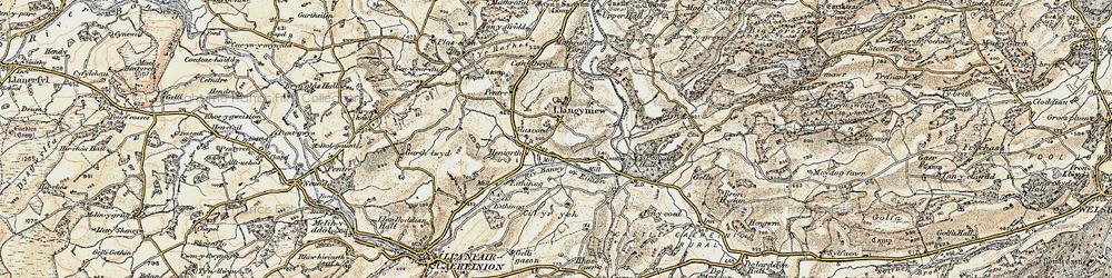 Old map of Afon Banwy neu Einion in 1902-1903