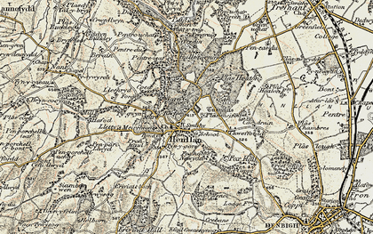 Old map of Afon y Meirchion in 1902-1903