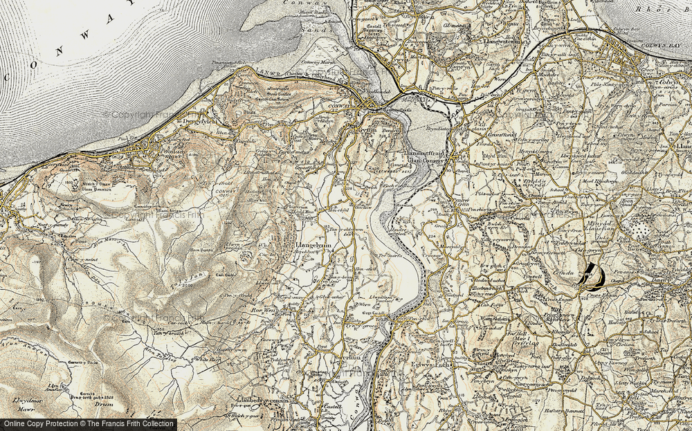 Old Map of Historic Map covering Afon Conwy in 1902-1903
