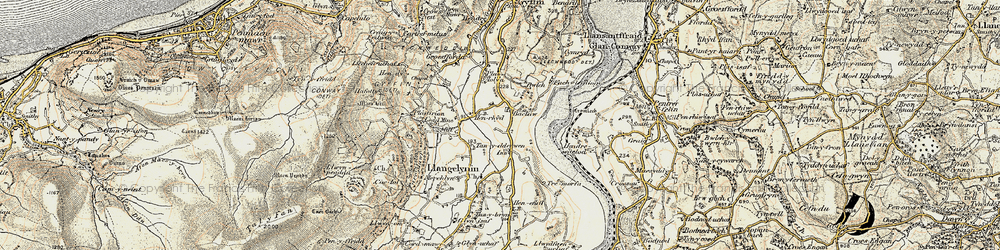 Old map of Afon Conwy in 1902-1903