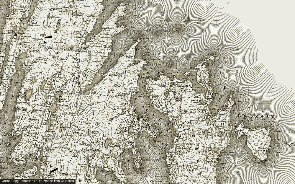 Old Map of Historic Map covering Baa Berg in 1911-1912
