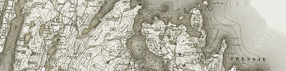 Old map of White Ayre in 1911-1912