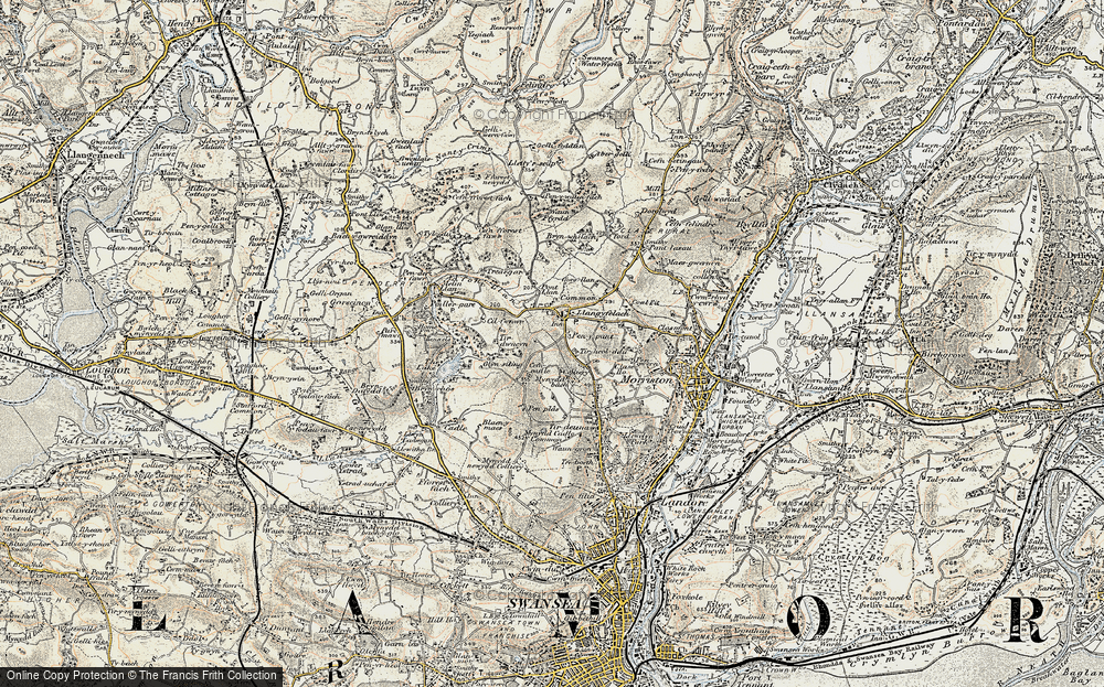 Old Map of Historic Map covering Afon Llan in 1900-1901