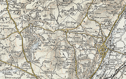 Old map of Afon Llan in 1900-1901
