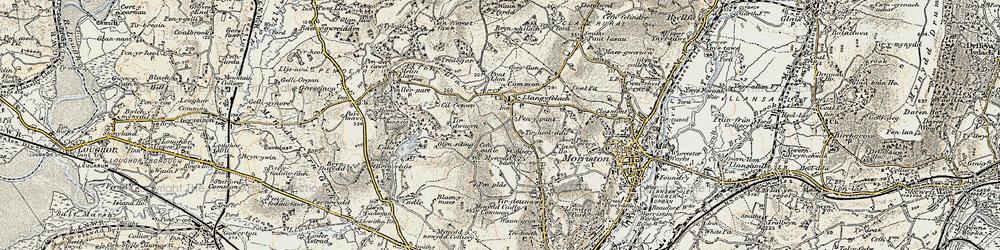 Old map of Afon Llan in 1900-1901