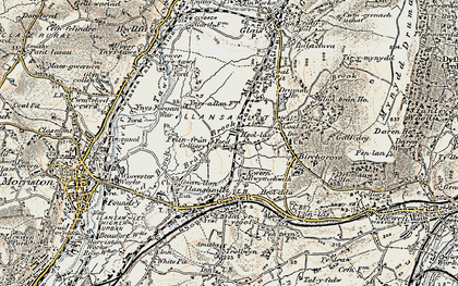 Old map of Heol Las in 1900-1901