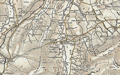 Old map of Afon Senni in 1900-1901