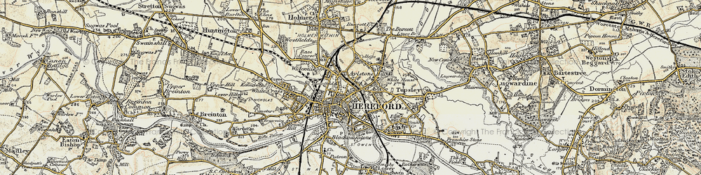 Old map of Hereford in 1899-1901
