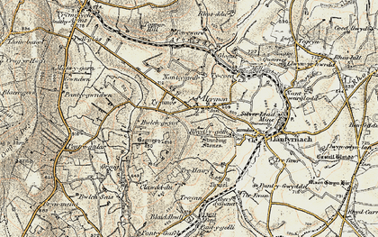 Old map of Afon Gafel in 1901