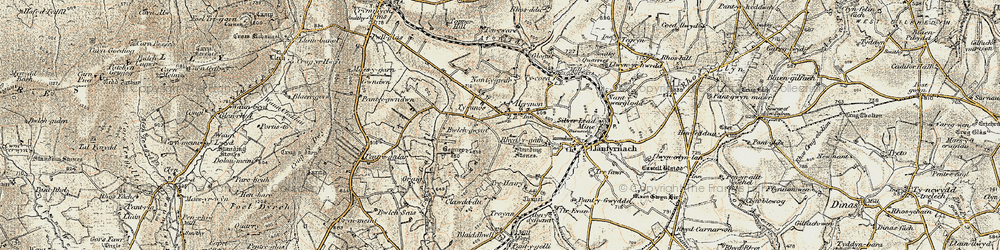 Old map of Afon Gafel in 1901