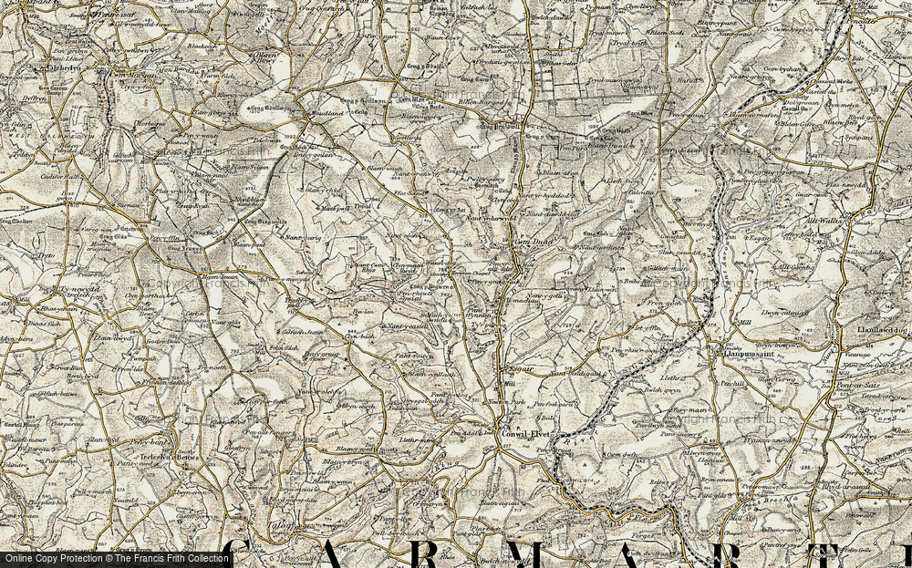 Old Map of Historic Map covering Afon Duad in 1901