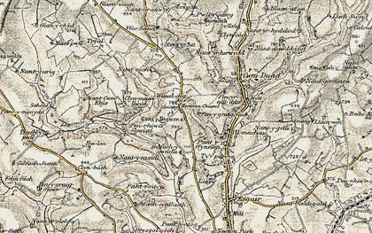 Old map of Afon Duad in 1901