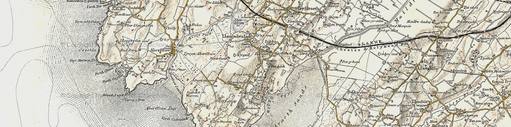 Old map of Bodorgan in 1903-1910