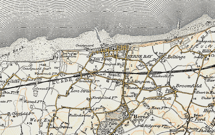 Old map of Herne Bay in 1898-1899
