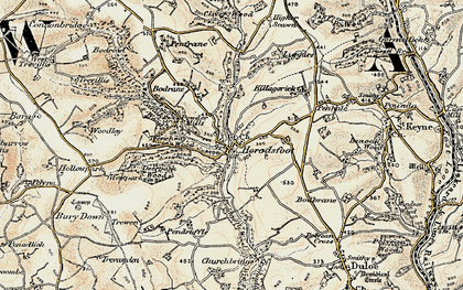 Old map of Herodsfoot in 1900