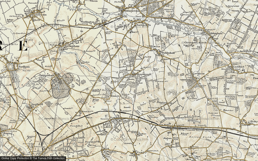 Old Map of Historic Map covering Woodlands in 1901