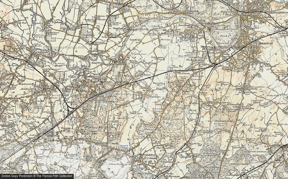 Old Map of Hersham, 1897-1909 in 1897-1909