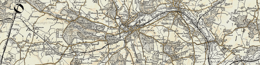 Old map of Hertford in 1898