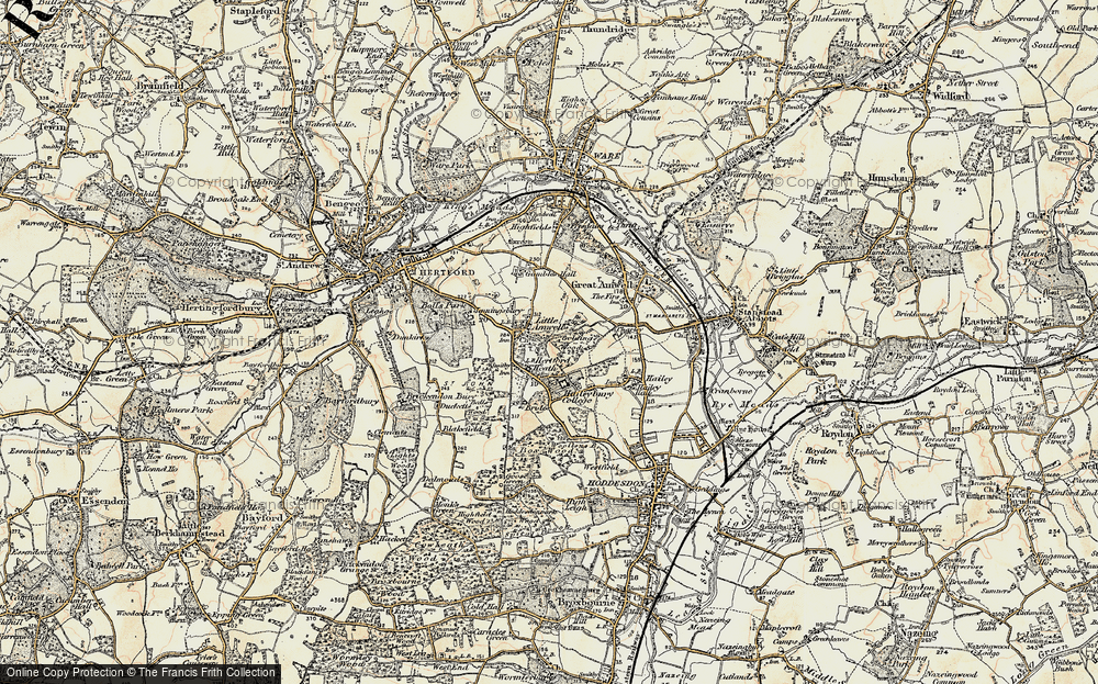 Old Map of Historic Map covering Balls Wood in 1898