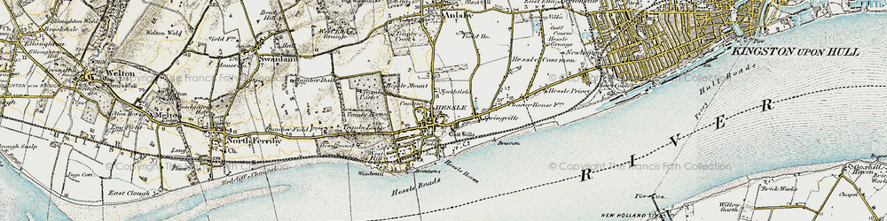 Old map of Hessle in 1903-1908
