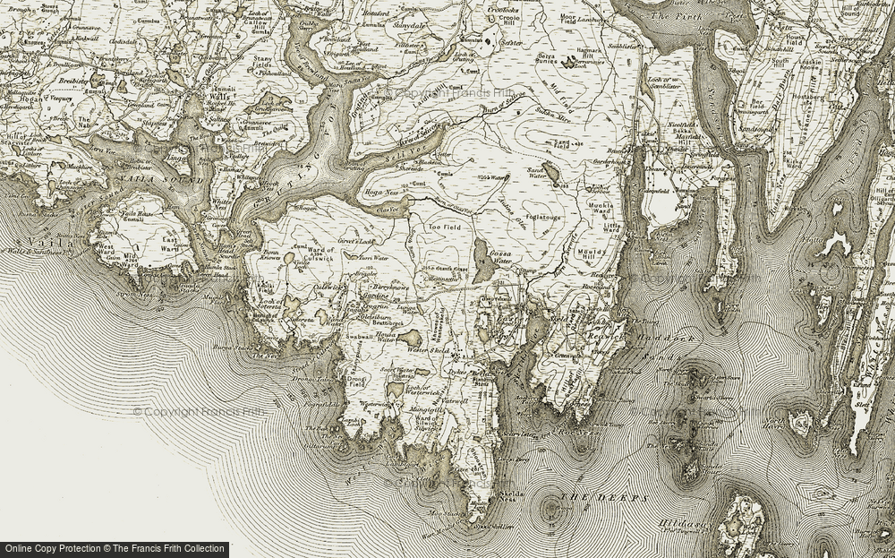 Old Map of Historic Map covering Too Field in 1911-1912