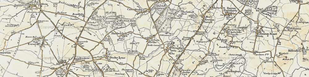 Old map of Willaston Village in 1898-1899