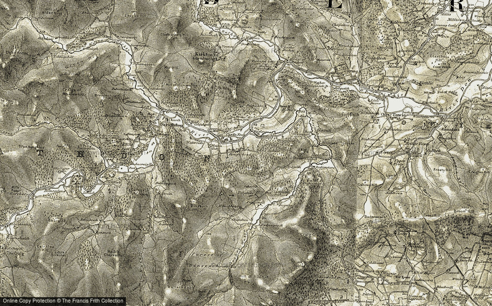 Old Map of Historic Map covering Bad an Teachdaire in 1908-1909