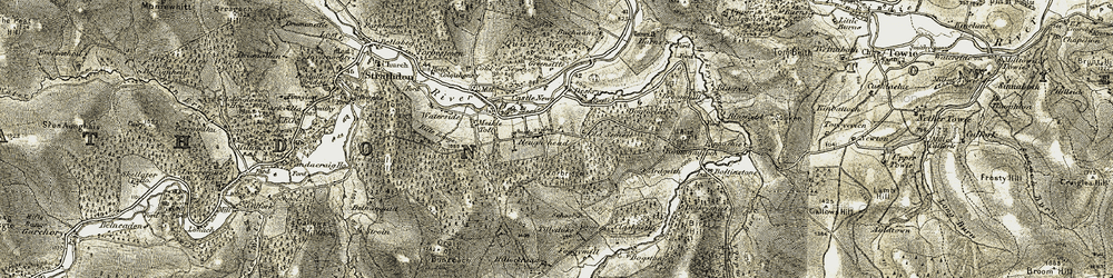 Old map of Tillyduke in 1908-1909