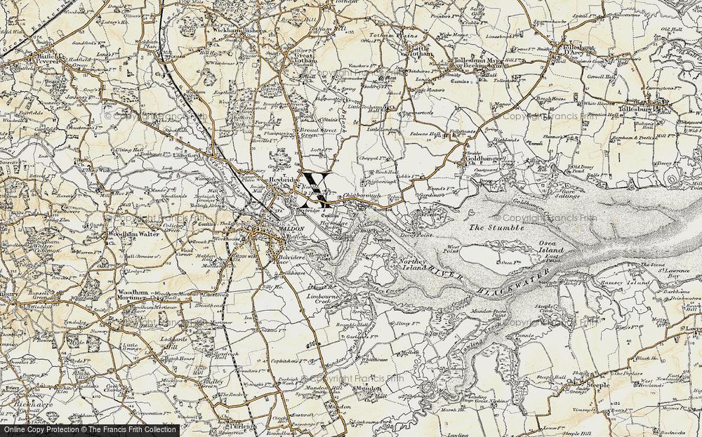Old Map of Heybridge Basin, 1898 in 1898