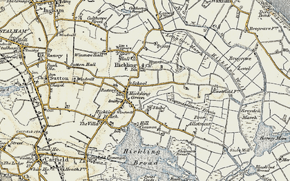 Old map of Hickling in 1901-1902