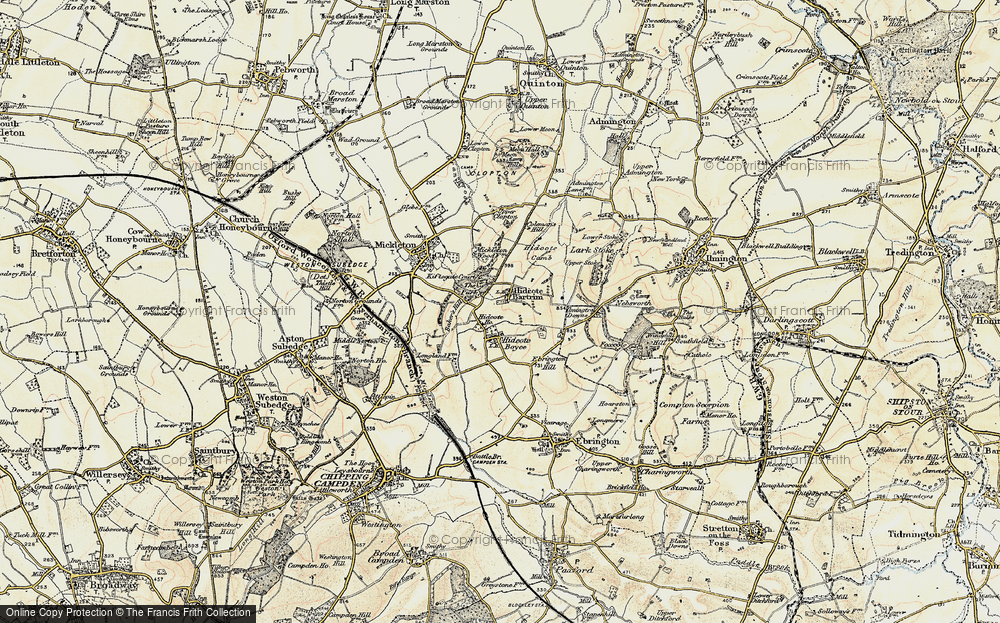 Old Map of Historic Map covering Baker's Hill in 1899-1901