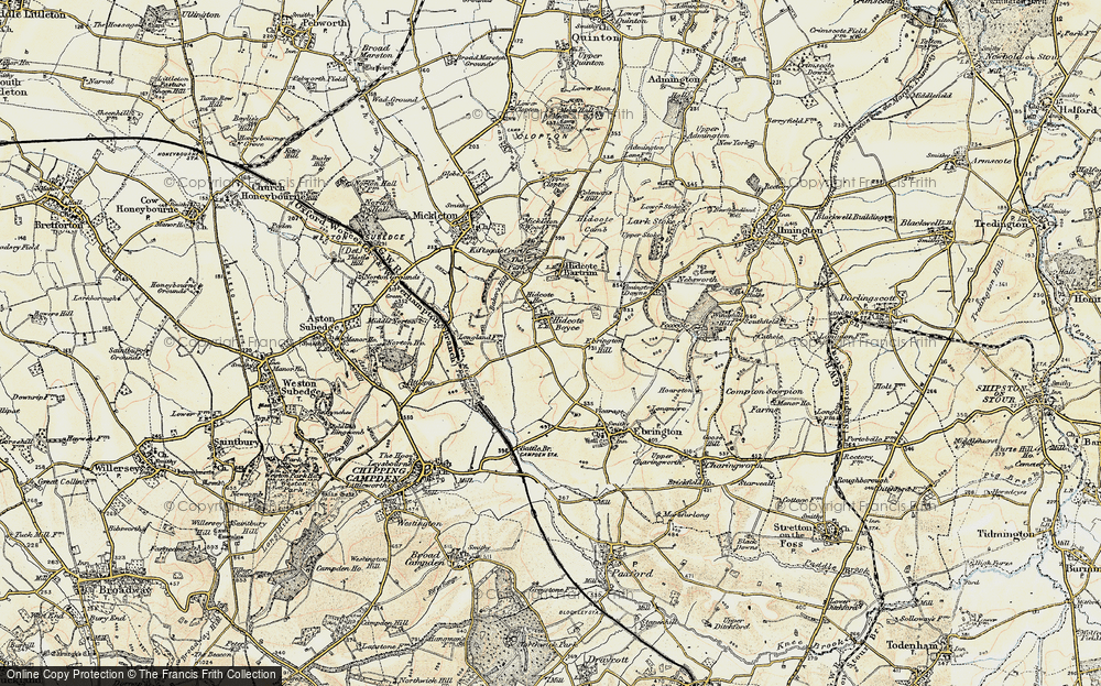 Old Map of Hidcote Boyce, 1899-1901 in 1899-1901