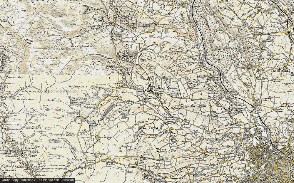 Old Map of Historic Map covering Agden Resr in 1903