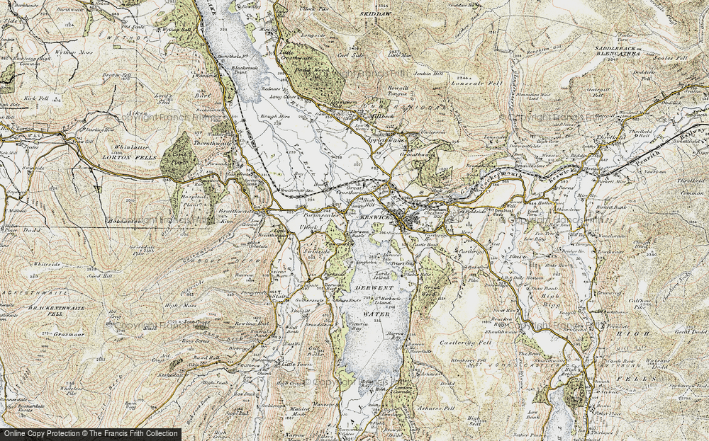 Old Map of Historic Map covering Lingholm in 1901-1904