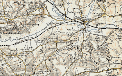 Old map of Afon Cwm-Waun-gron in 1901