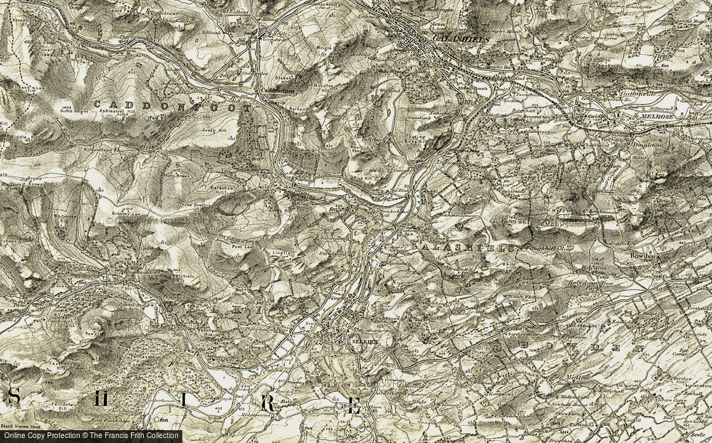 Old Map of Historic Map covering Scottish Borders in 1904