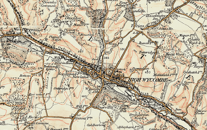 Old map of High Wycombe in 1897-1898