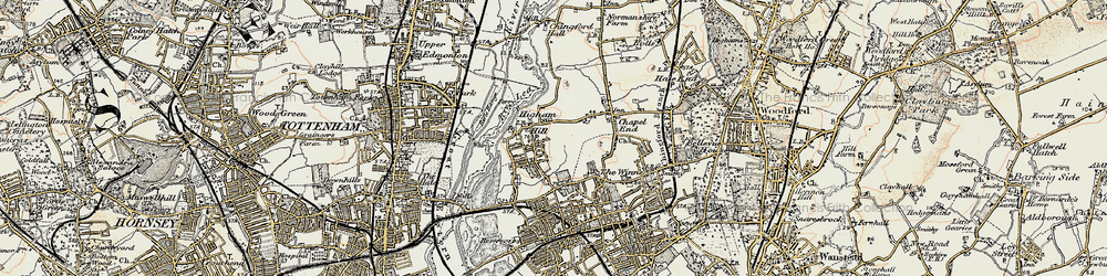 Old map of Higham Hill in 1897-1898