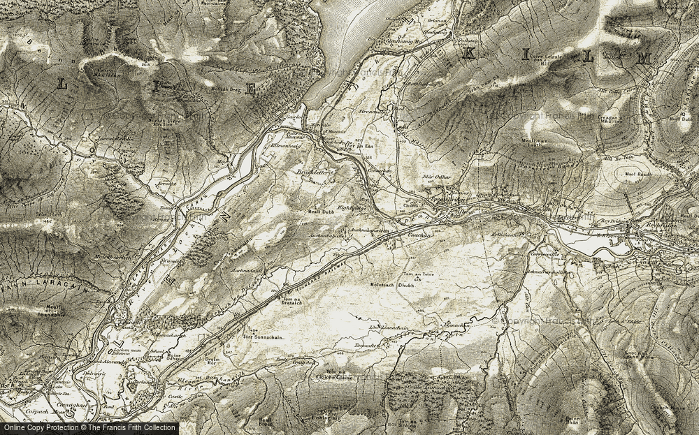 Old Map of Historic Map covering Achnabobane in 1906-1908