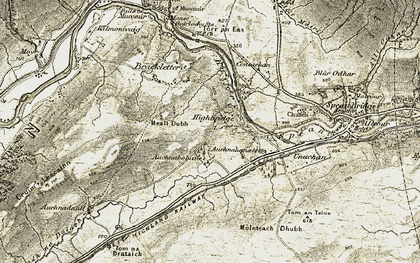 Old map of Achindaul in 1906-1908