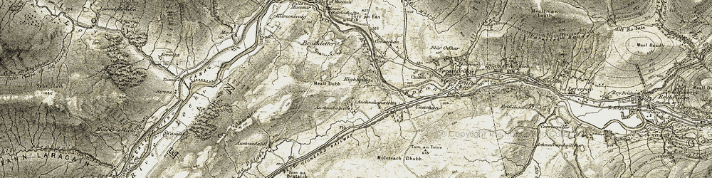 Old map of Leanachan Forest in 1906-1908