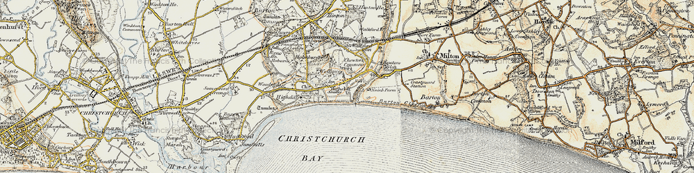 Old map of Highcliffe in 1899-1909