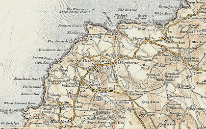Old map of Wheal Bal Hill in 1900