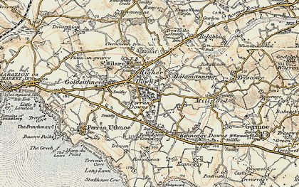 Old map of Higher Downs in 1900