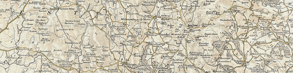 Old map of Wind Tor in 1899-1900
