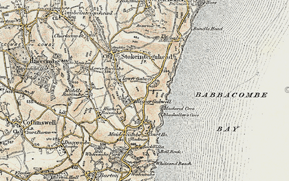 Old map of Babbacombe Bay in 1899