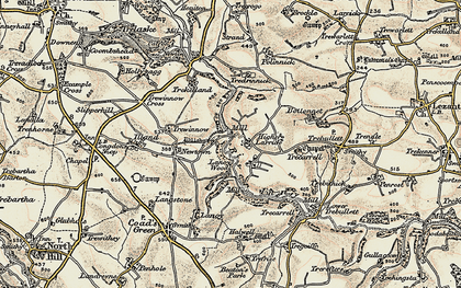 Old map of Higher Larrick in 1900
