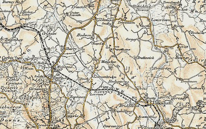 Old map of Higher Menadew in 1900