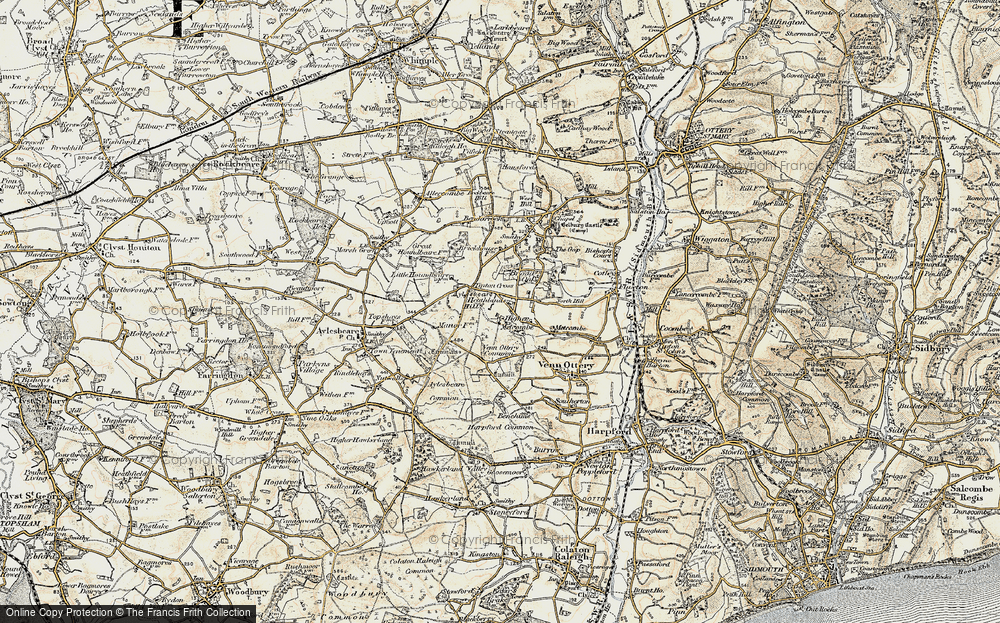 Old Map of Historic Map covering Aylesbeare Hill in 1899